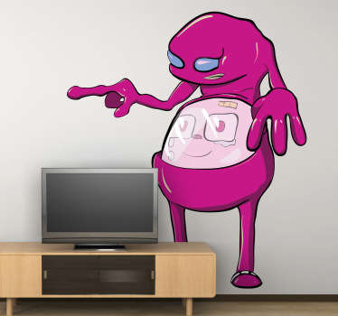Wall Stickers - Illustration of a curious pink alien with a friendly stomach. Distinctive original feature. Available in various sizes.