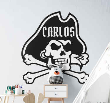 Customizable pirate skull name sticker to decorate the room of children. Your kid who love pirate character would be happy to have this design.