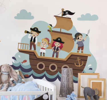 Kids pirates illustration vinyl decal - Fun design to decorate your kid's room especially for kids who love pirate characters.