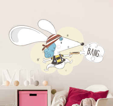 Decorative comic and interesting pirate illustration decal, It illustrates of a mouse pirate, shooting with a gun. Easy to apply on any flat surface.