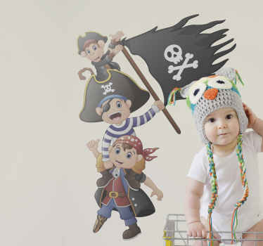 Pirate illustration sticker for children. Customize any room in the home with this design display some pirate kids holding a pirate flag.