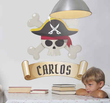 Decorate the space of your kid with this pirate illustration decal with skull.. It can be applied on any flat surface and it is self adhesive.