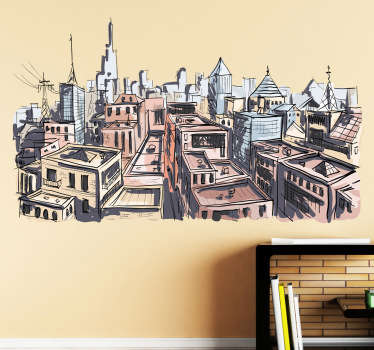 City in Watercolour Art Wall Sticker