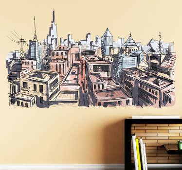 City in Watercolour Art Wall Sticker