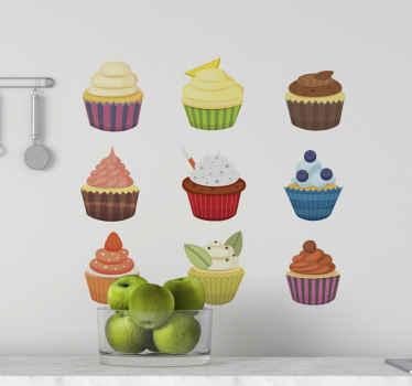 Pegatinas comida de cupcakes para decoración de cocinas y comedores. Es personalizable a cualquier tamaño necesario ¡Envío exprés!