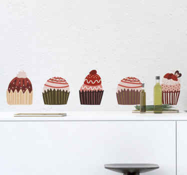 Cenefa decorativa con cupcakes: un diseño  decorativo increíble para la cocina o el comedor. Fácil de aplicar y duradera ¡Envío exprés!