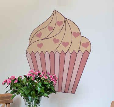 adhesif cupcake qui présente une image mignonne d'un cupcake recouvert de pépites de coeur. Le design est coloré dans les tons de rose et de pêche!