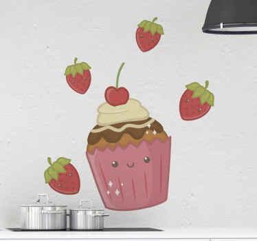 Autocollant de gâteau qui comporte une image adorable d'un petit gâteau de bande dessinée avec des fraises qui l'entourent. Matériau durable.