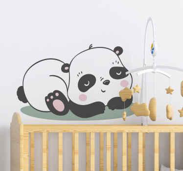 Panda illustratie kinderkamer muursticker - ook geschikt om babykamer te versieren, het kan worden aangebracht op raam, deur, meubels. Bestel nu!