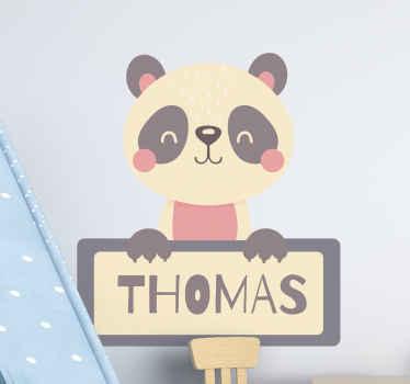 Panda-label met naam kinderkamer muursticker - het is gemakkelijk op de muur, meubels, deuren, ramen en meer vlakke oppervlakken te plakken. Koop nu!