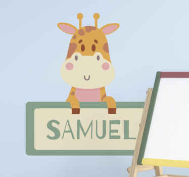 """Have this personalized Home Wall Sticker """"Giraffe label with name"""". What are you waiting for?  Get yours now online! We will give you home delivery!"""