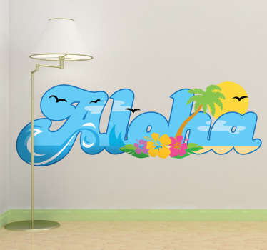 A great text wall sticker with the famous phrase we all know, Aloha! A colourful sticker to welcome your guests.