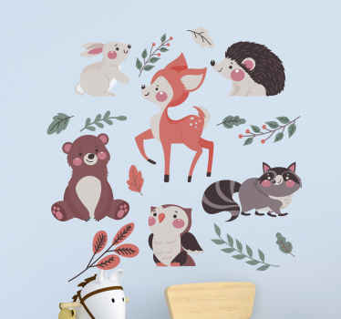 Autumn forest animals children bedroom sticker - Beautiful decoration to customize your baby's room. It is easy to apply ad durable.