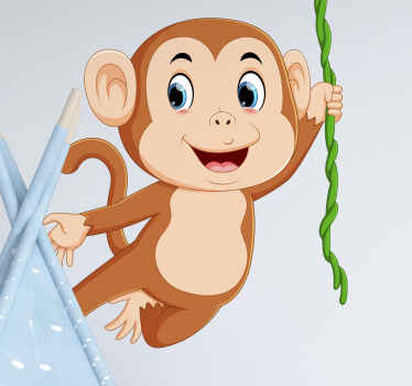 Monkey jumping children' bedroom wall sticker decoration. Fun design to create a happy atmosphere on your kid's room or playroom.