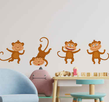 Happy decorative illustrative animal decal to customize children space to change the atmosphere. Here on this design are different monkeys dancing.