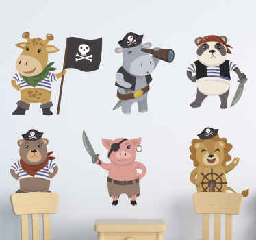 Different cute little animal pirates  with flag kids room decal - You can imagine the joy and happy expression your kid would have just having this.