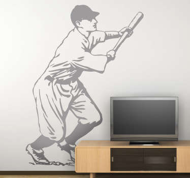 This wall sticker is a fun and sporty design of a baseball player. He just hit a home run so he starts sprinting!