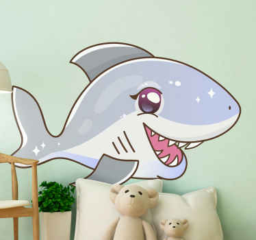 This laughing fish vinyl decal would be a good decoration idea for children room, though it can also be applied on any other place you want.
