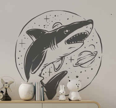 Tubarão nórdico com autocolante de peixes estrelas - projeto bonito da ilustração do desenho de peixes que você pode usar para decorar qualquer espaço plano. é personalizável.