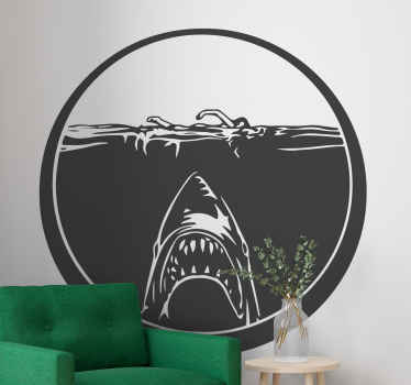 An illustrative shark fish decal under sea hunting for prey. Beautiful home wall decal to customize any space you want. Easy to apply.
