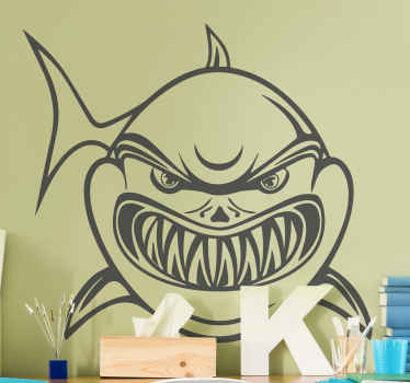 Monocolor angry shark fish sticker - Customize the design in the colour of you choice from among the colours we have on the catalog.