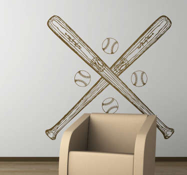 Baseball Bat and Balls Wall Sticker