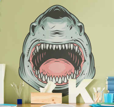 Big shark fish wall sticker design having it mouth widely opened.  Made with quality vinyl, it is self adhesive, easy to apply and durable.