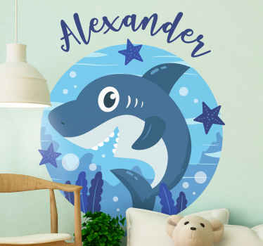 Beautiful happy shark fish illustration sticker that can be decorate on the space of kids and other space in the home.  Available in any size needed.