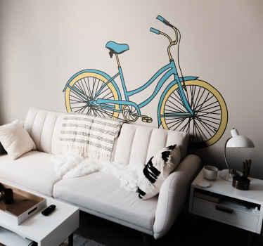 Sticker blauwe fiets