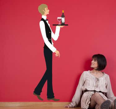 официант и наклейка на стене