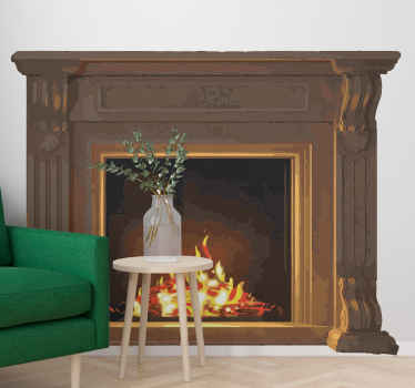 This is a vintage wall sticker with a classic design of a fire flames burning inside of a solid, traditional fireplace. Home delivery available!