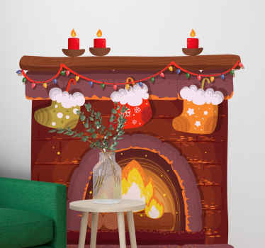 Beautiful Christmas wall sticker with an  illustration of a warm fireplace with Christmas stockings and candles on it. Choose the size!