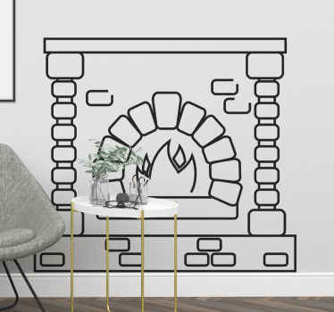 This modern  and beautiful wall sticker is a drawn outline of a classic and traditional fireplace made of bricks. Order today!