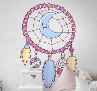 This kids wall sticker is a beautiful illustration of dream catcher with feathers in pretty pink, blue and yellow colours with a moon. Home delivery!