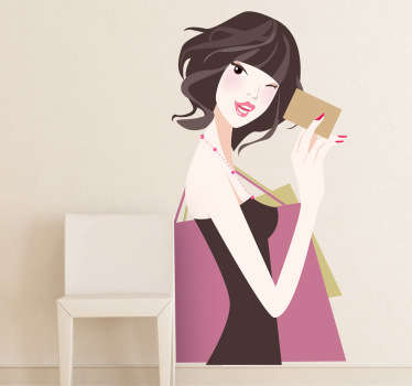 A shopping wall sticker illustrating a young lady ready to pay with her credit card. Great fashion decal to decorate retail stores.