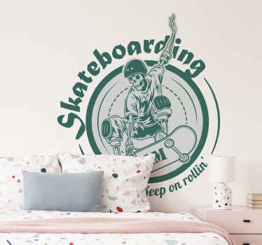 Skateboarding team symbol wall sticker - The design illustrates a skeleton on skating board. Easy to apply, durable and removable anytime.