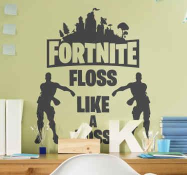 Flooss like a boss fortnite character zelfklevende sticker design illustreert fornite banner met twee tanagers die de floss laten dansen.