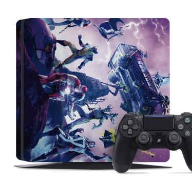 Increíble vinilo ps4 Fortnite con los jugadores en acción para que decores tu PlayStation de forma original ¡Envío exprés a domicilio!