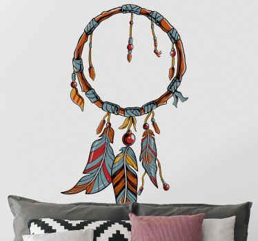 Dreamcatcher with multicolor feathers object wall sticker - This can be decorated on any part of a house, easy to apply and durable.