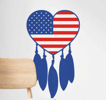 American heart dreamcatcher object decal - Flag America on your space but with a dream catcher ornament  in this amazing object decal.