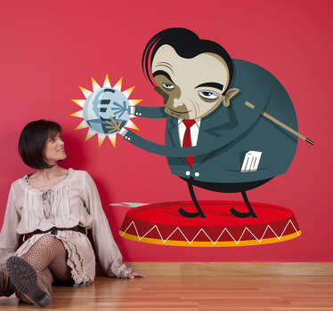 A quirky wall sticker showing an evil genius holding a crystal ball of money. An insatiable capitalist or a genius entrepreneur?