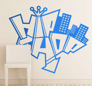 A monochrome illustration with an urban style from our collection of graffiti wall stickers inspired the successful music genre of Hip Hop.