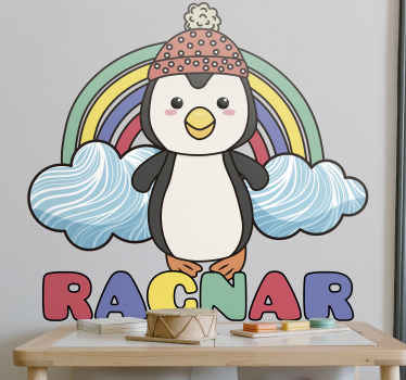 Make your kids happy with this cute design. Our wall vinyl sticker displays a penguin with a rainbow behind him. Order yours now!