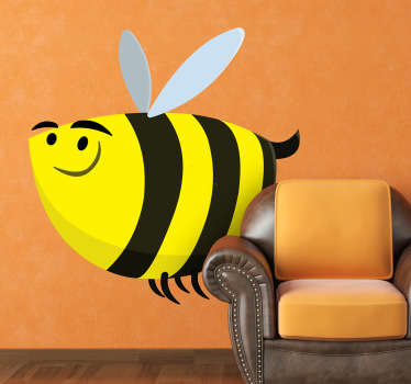 Fun and playful bee wall sticker to brighten up any room. Great cartoon animal decal to put a smile on the little ones' faces. This little guy's yellow and black stripes are just what the walls of your home are missing. Available in various sizes.