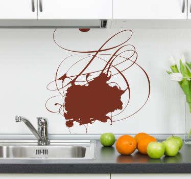 キッチンステッカー-抽象的なデザインを染色します。キッチンにちょっとした色を加えるのに最適です。キッチン用品、壁、食器棚を飾ります。