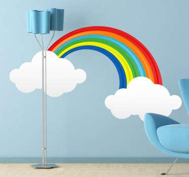 Regnbåge med moln barn klistermärke