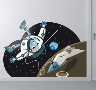 Kids Wall Sticker-Illustration of an astronaut doing a space walk by the moon with a view of earth in a distance.