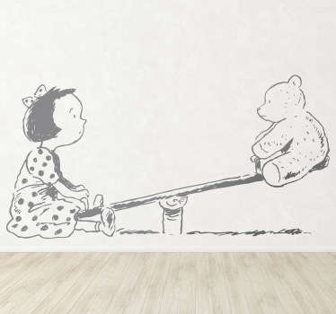 Illustration of a young girl playing with her teddy. This design from our collection of teddy bear wall stickers is ideal for a girl's room.