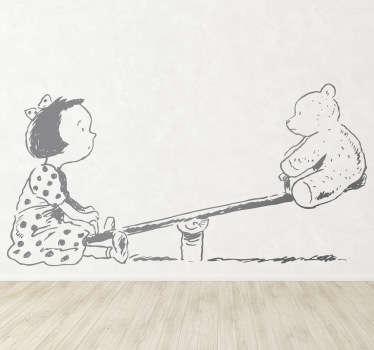 Sticker kinderkamer meisje en teddybeer op wip