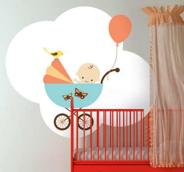 Vinilo infantil bebé carrito y globo